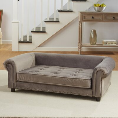 Manchester Velvet Tufted Dog Sofa with Cushion Color: Gray