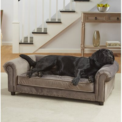 Loki Velvet Tufted Dog Sofa with Cushion Color: Gray