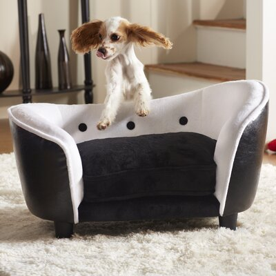 Ultra Plush Snuggle Dog Sofa Color: Black / White