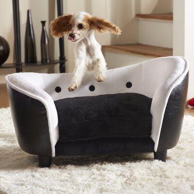 Ultra Plush Snuggle Dog Sofa Color: Black / White