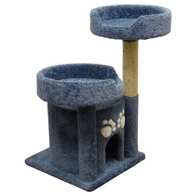 34 Premier Double Perch Solid Wood Cat Condo Color: Blue