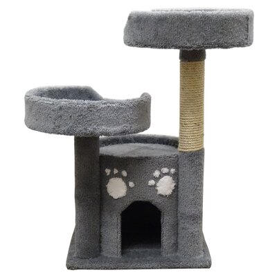 34 Premier Double Perch Solid Wood Cat Condo Color: Gray