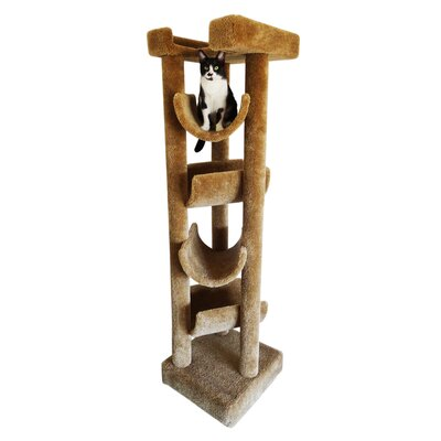 72 Premier Solid Wood Cat Tree Color: Brown