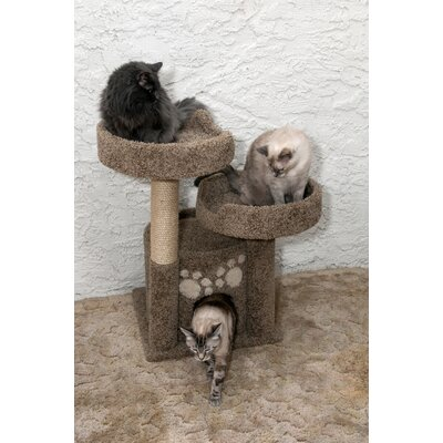 34 Premier Double Perch Solid Wood Cat Condo Color: Brown