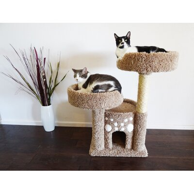 34 Premier Double Perch Solid Wood Cat Condo Color: Brown