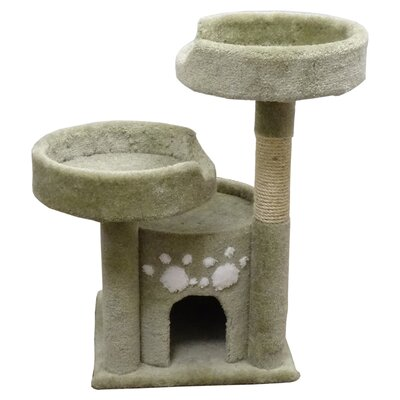 34 Premier Double Perch Solid Wood Cat Condo Color: Green