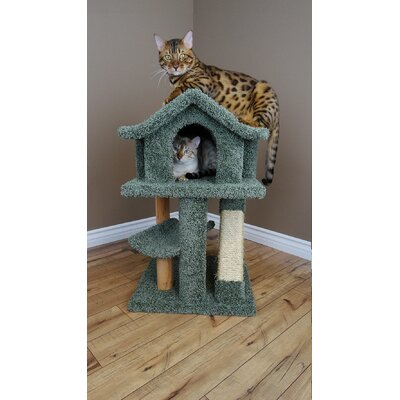 32 Premier Mini Pagoda Cat Condo Color: Green