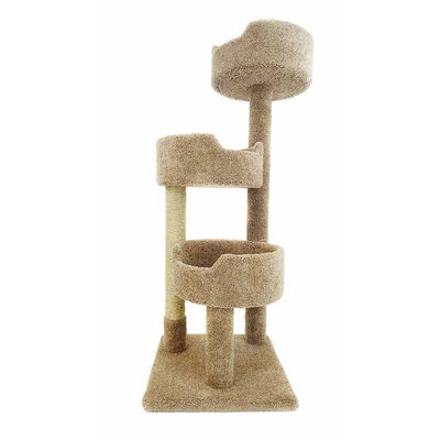 52 Deluxe Cat Tree Color: Brown