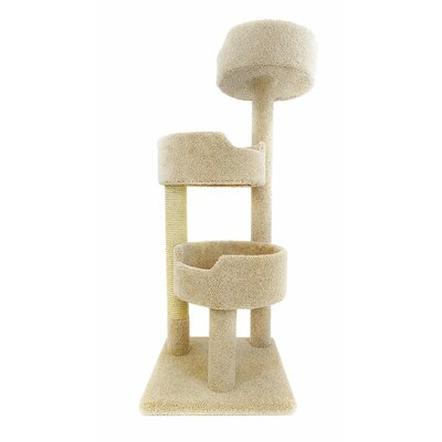 52 Deluxe Cat Tree Color: Beige