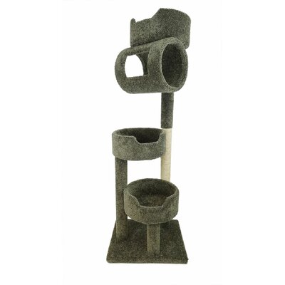 67 Premier Twin Tower Cat Tree Color: Green
