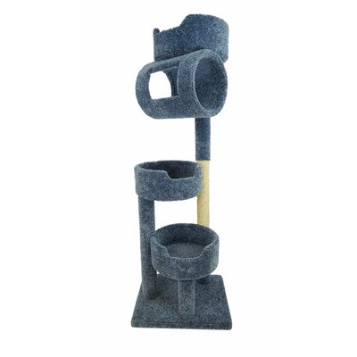 67 Premier Twin Tower Cat Tree Color: Blue