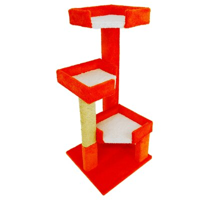 46 New Cat Condos Solid Wood Triple Kitty Pad Color: Floresent Orange and White
