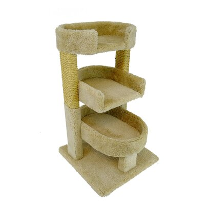 New Cat Condos Round 33 Triple Cat Perch Color: Beige