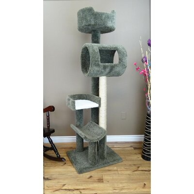 69 Deluxe Play Cat Condo Color: Green