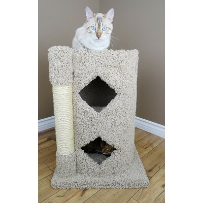 28 Premier 2-Story Solid Wood Cat Condo Color: Beige