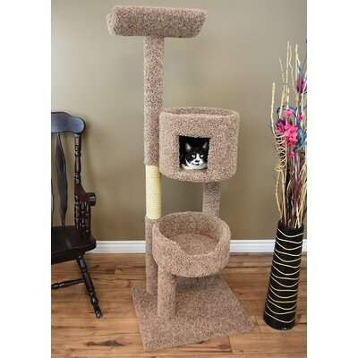 67 New Solid Wood Deluxe Tower Cat Condo Color: Brown