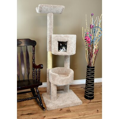 67 New Solid Wood Deluxe Tower Cat Condo Color: Beige