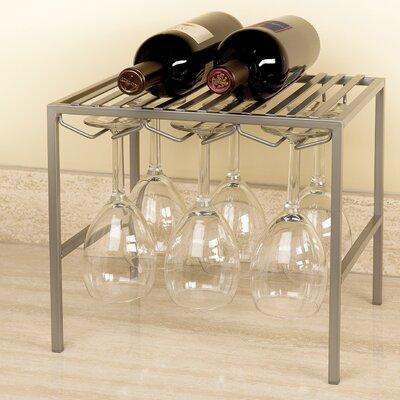 Stemware Holder and Shelf 2 Bottle Floor Wine Rack Finish: Platinum