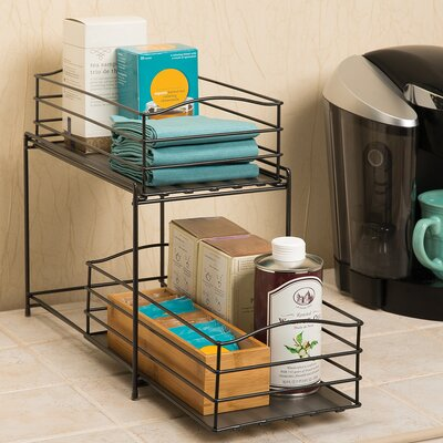 2 Tier Sliding Basket Cabinet Organizer Color: Gun Metal