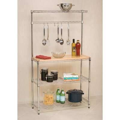 UltraZinc Bakers Rack Workstation with Rubberwood Top