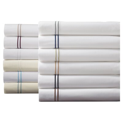 Grande Hotel Egyptian Percale Sham Color: White / Grey, Size: King
