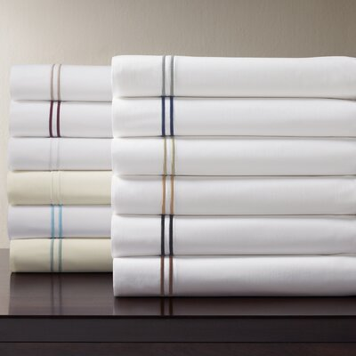 Grande Hotel Egyptian Quality Cotton Percale Flat Sheet Size: King, Color: White / Taupe