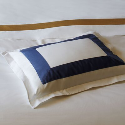 Orlo Egyptian Pillowcase Size: King, Color: White / Navy