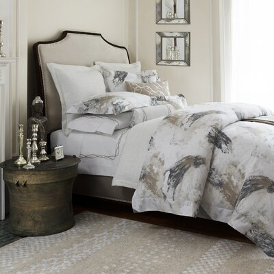 Tavia Duvet Cover Color: Charcoal/Taupe, Size: King