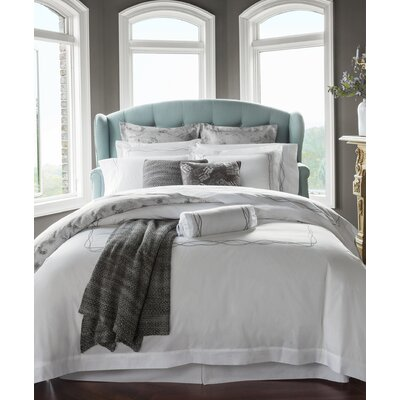 Cade Duvet Cover Color: White/Taupe, Size: Twin