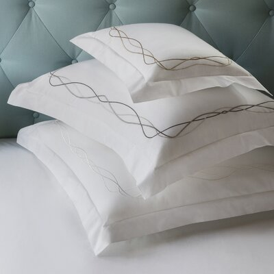 Cade Pillowcase Color: White/Taupe, Size: Standard