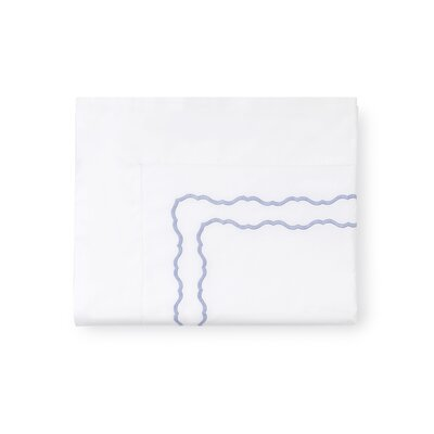 Genna Cotton Flat Sheet Color: White/Blue, Size: King