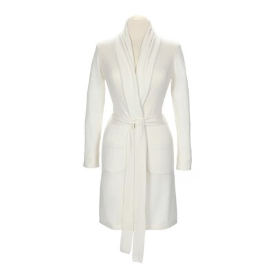 Ananda Gift Boxed Womens Cashmere Bathrobe Color: Ivory, Size: Extra Small/Small