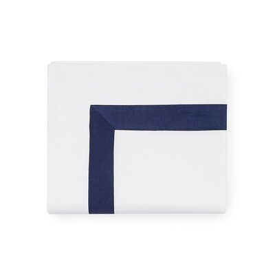 Orlo 100% Cotton Flat Sheet Size: King, Color: White/Navy