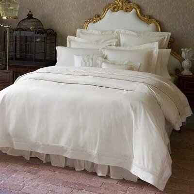 Giza 45 Lace Cotton Flat Sheet Size: King, Color: Ivory
