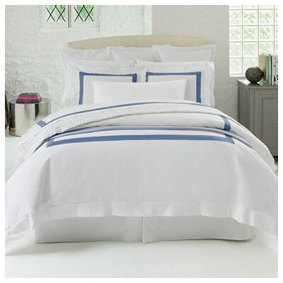 Orlo 100% Cotton Flat Sheet Size: Twin, Color: White/Cornflower Blue