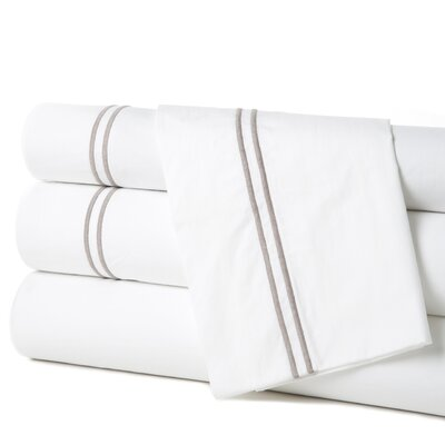 Grande Hotel Egyptian Quality Cotton Percale Flat Sheet Color: White / Grey, Size: King