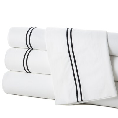 Grande Hotel Egyptian Quality Cotton Percale Flat Sheet Size: King, Color: White / Black