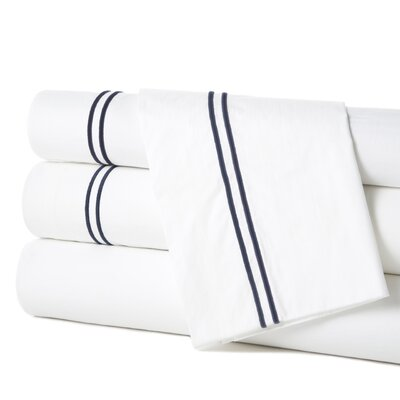 Grande Hotel Egyptian Quality Cotton Percale Flat Sheet Size: King, Color: White / Navy
