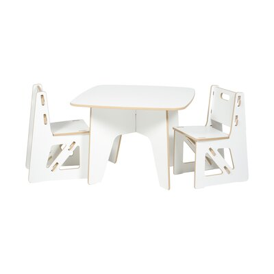 Kids 3 Piece Table & Chair Set KT2C001-WHT