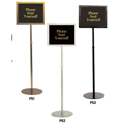 Pedestal Signframes Finish: Matte Silver, With Sign Pack: No