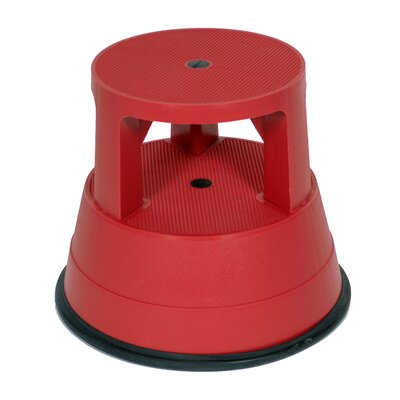 1-Step Plastic Portable Rolling Stable Step Stool with 300 lb. Load Capacity Color: Red