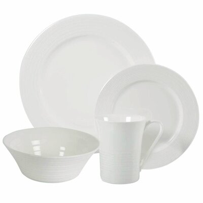 White Basics Cirque 16 Piece Dinnerware Set, Service for 4 P0873616