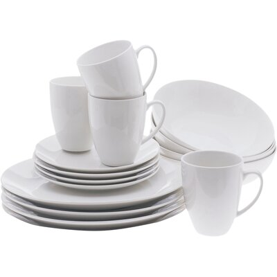 White Basics Coupe 16 Piece Dinnerware Set, Service for 4 P228