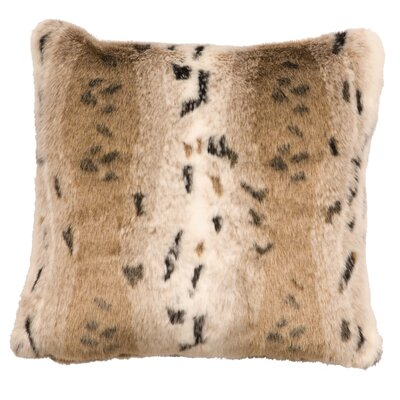 Snow Lynx Fur Faux Fur Throw Pillow