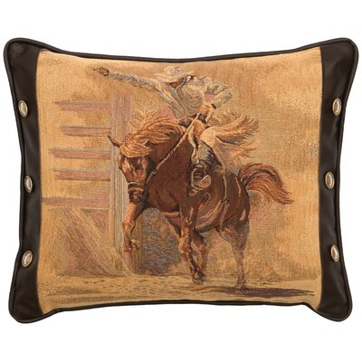 Leather and Decorative Conchos Leather/Suede Throw Pillow