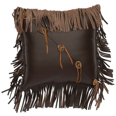Fringe and Sliced Antler Buttons Leather Throw Pillow Size: 16 H x 16 W x 9 D