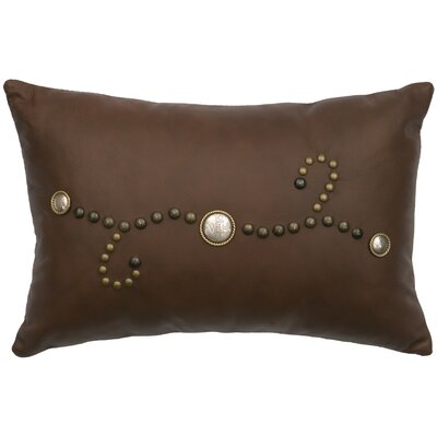 Decorative Conchos and Studs Leather Lumbar Pillow