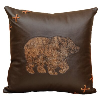 Decorative Bear Cut Out Leather/Suede Throw Pillow Color: Espresso