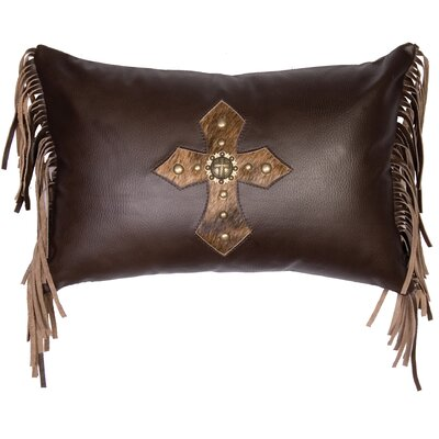Cross Antique Concho and Spots Leather/Suede Throw Pillow Color: Espresso