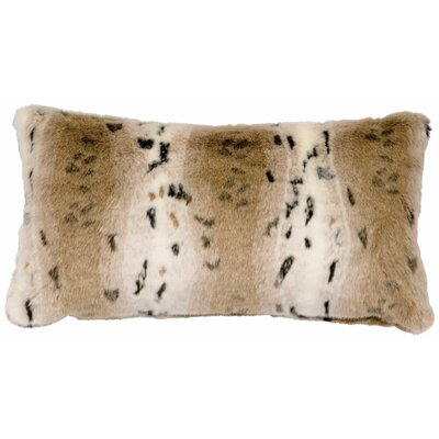 Snow Lynx Faux Fur Lumbar Pillow